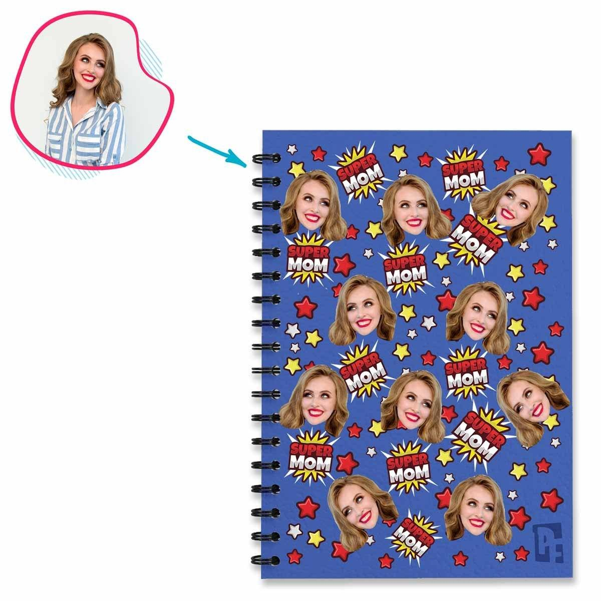 darkblue Super Mom Notebook personalized with photo of face printed on them