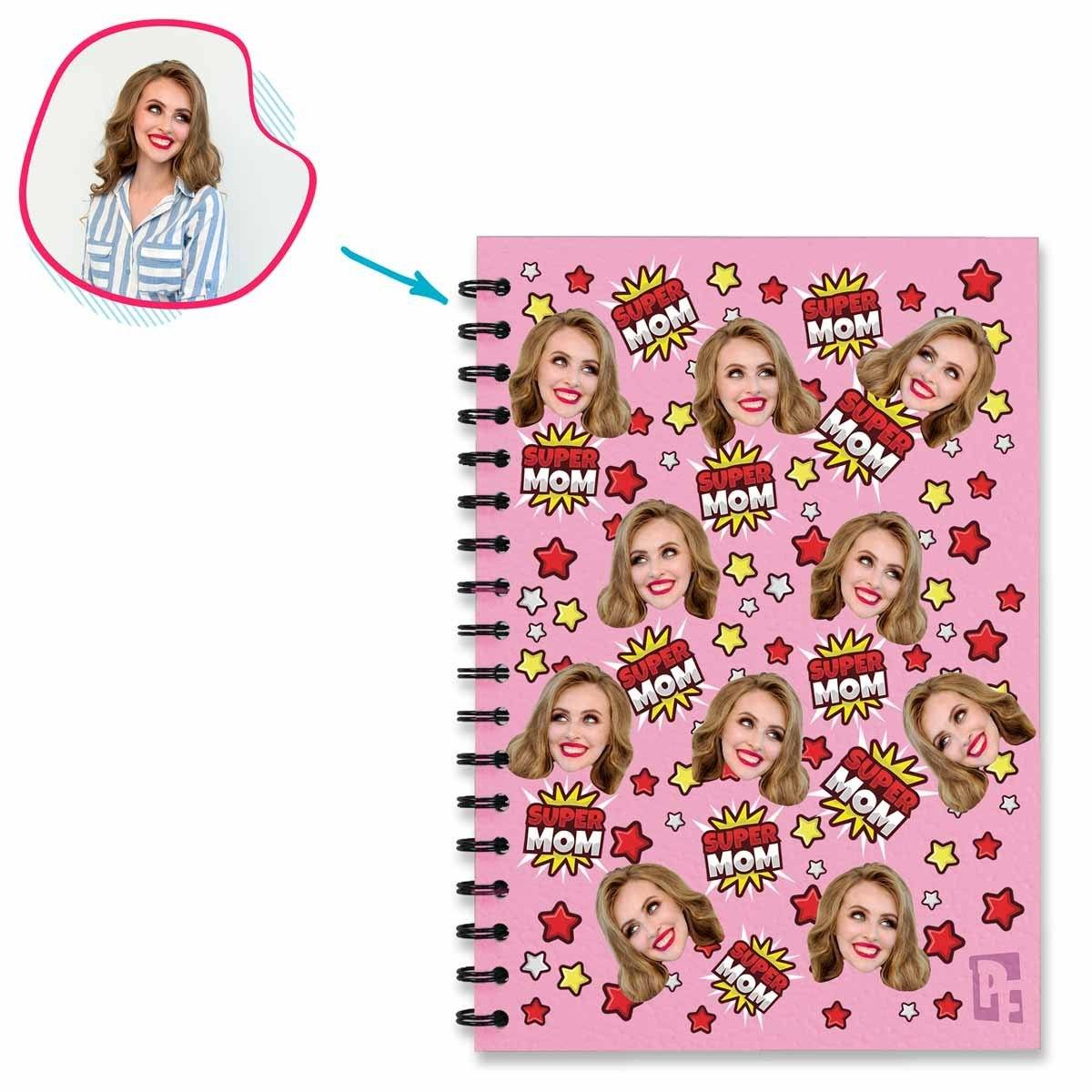 pink Super Mom Notebook personalized with photo of face printed on them