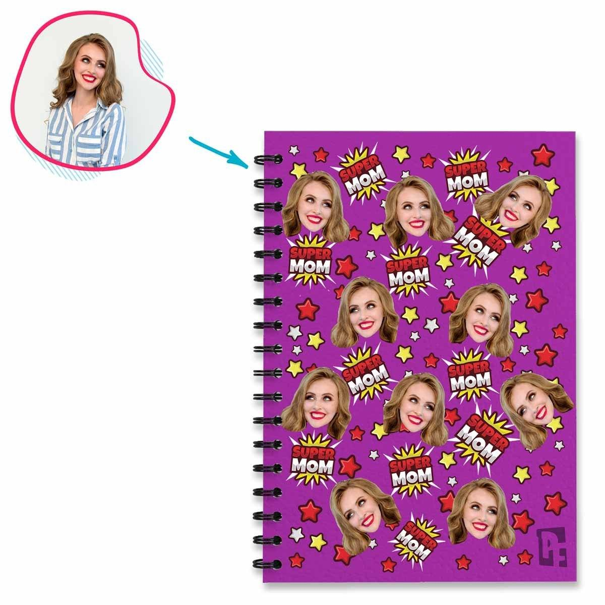 purple Super Mom Notebook personalized with photo of face printed on them
