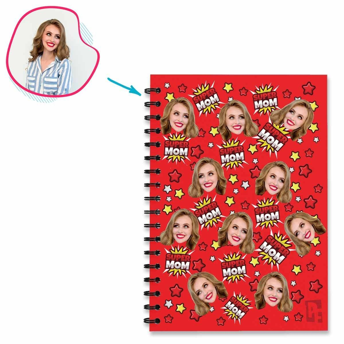 red Super Mom Notebook personalized with photo of face printed on them