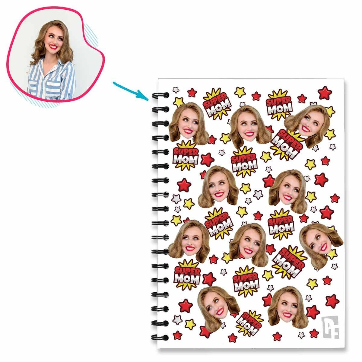 white Super Mom Notebook personalized with photo of face printed on them