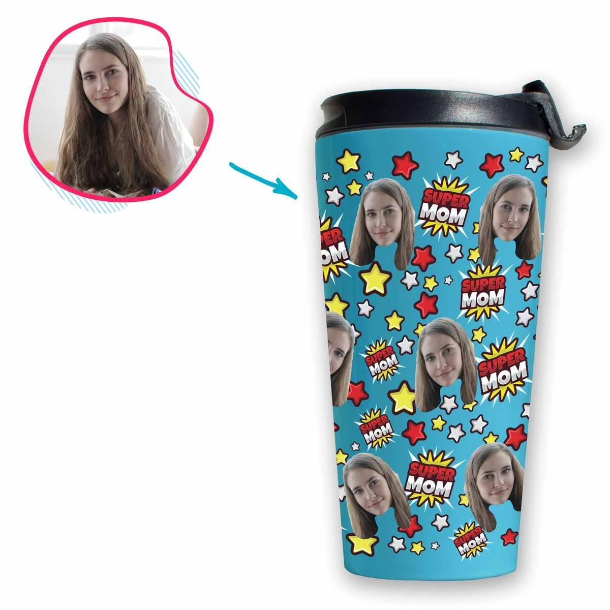 blue Super Mom travel mug personalized with photo of face printed on it