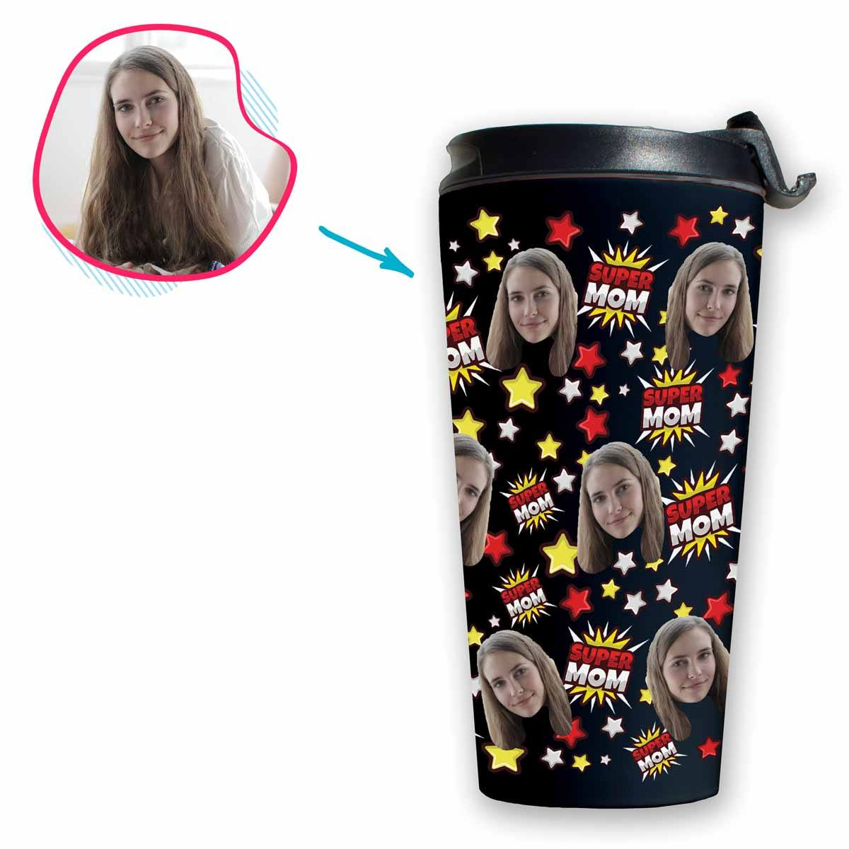 dark Super Mom travel mug personalized with photo of face printed on it