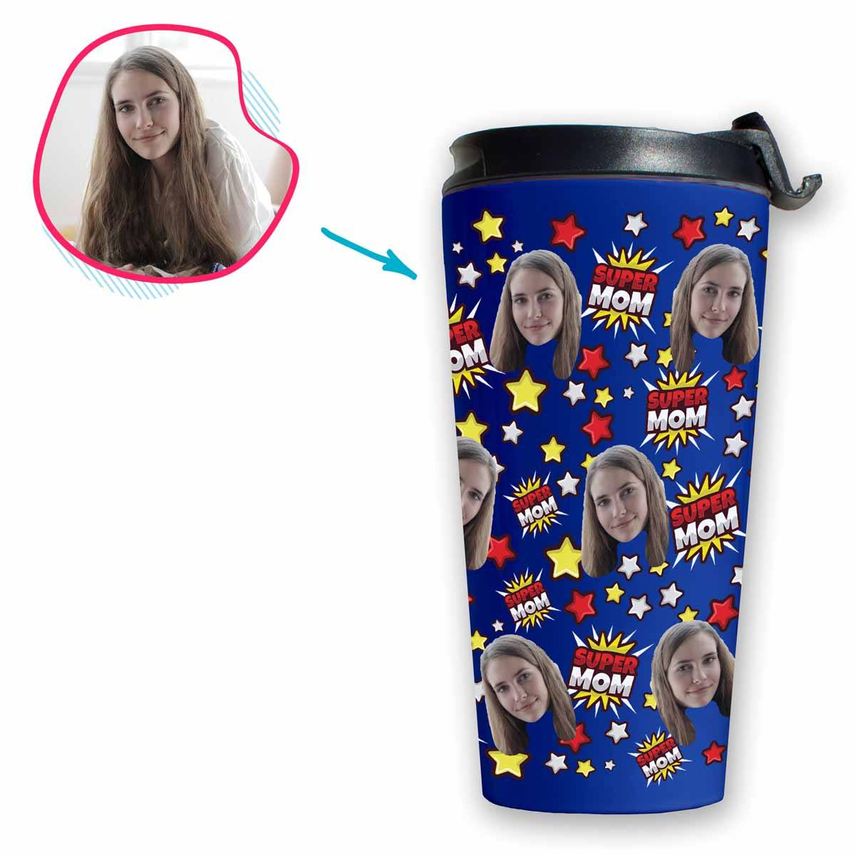 darkblue Super Mom travel mug personalized with photo of face printed on it