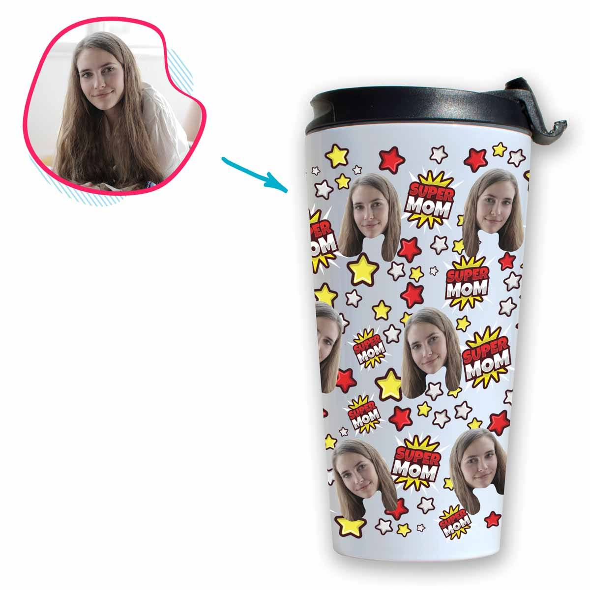 white Super Mom travel mug personalized with photo of face printed on it
