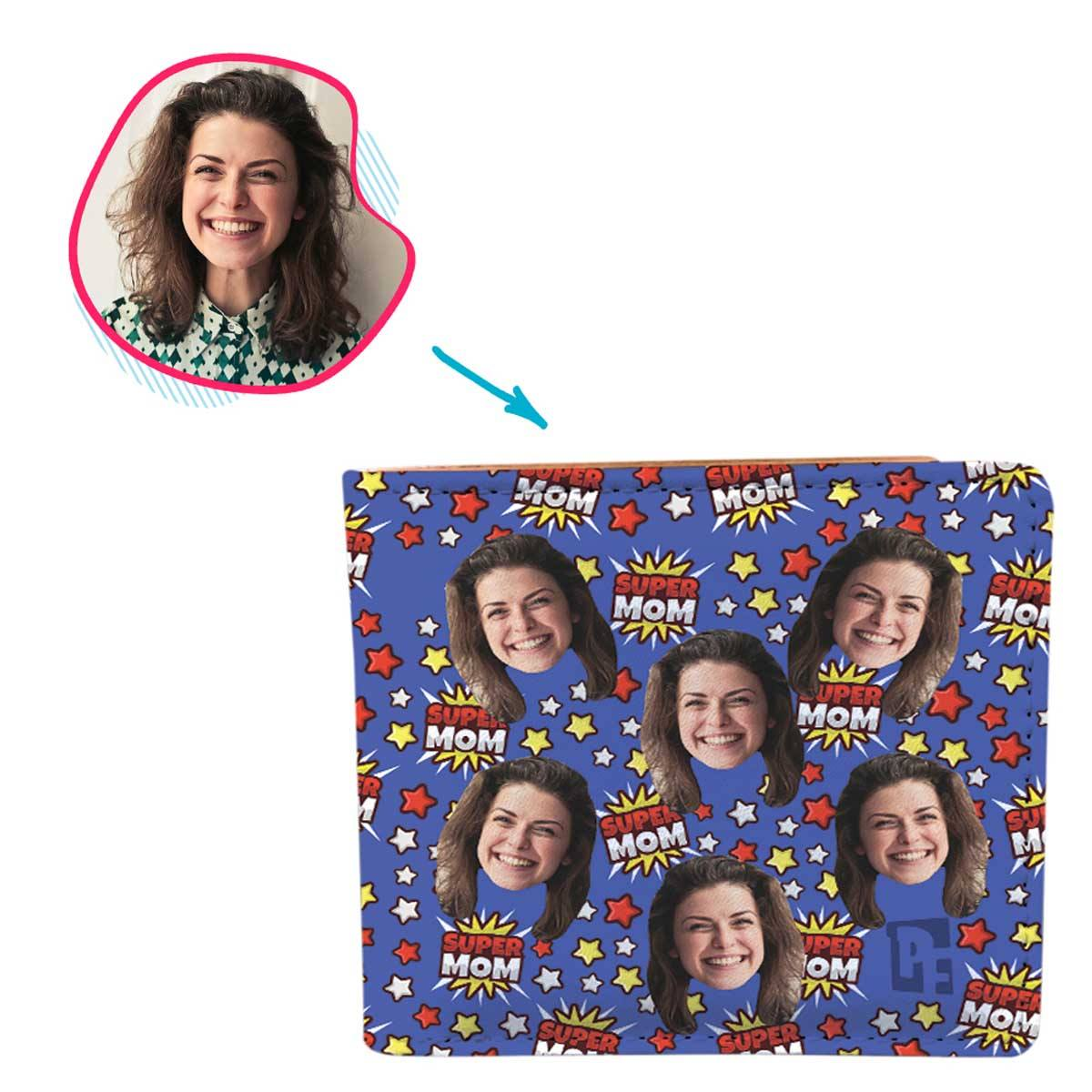 darkblue Super Mom wallet personalized with photo of face printed on it