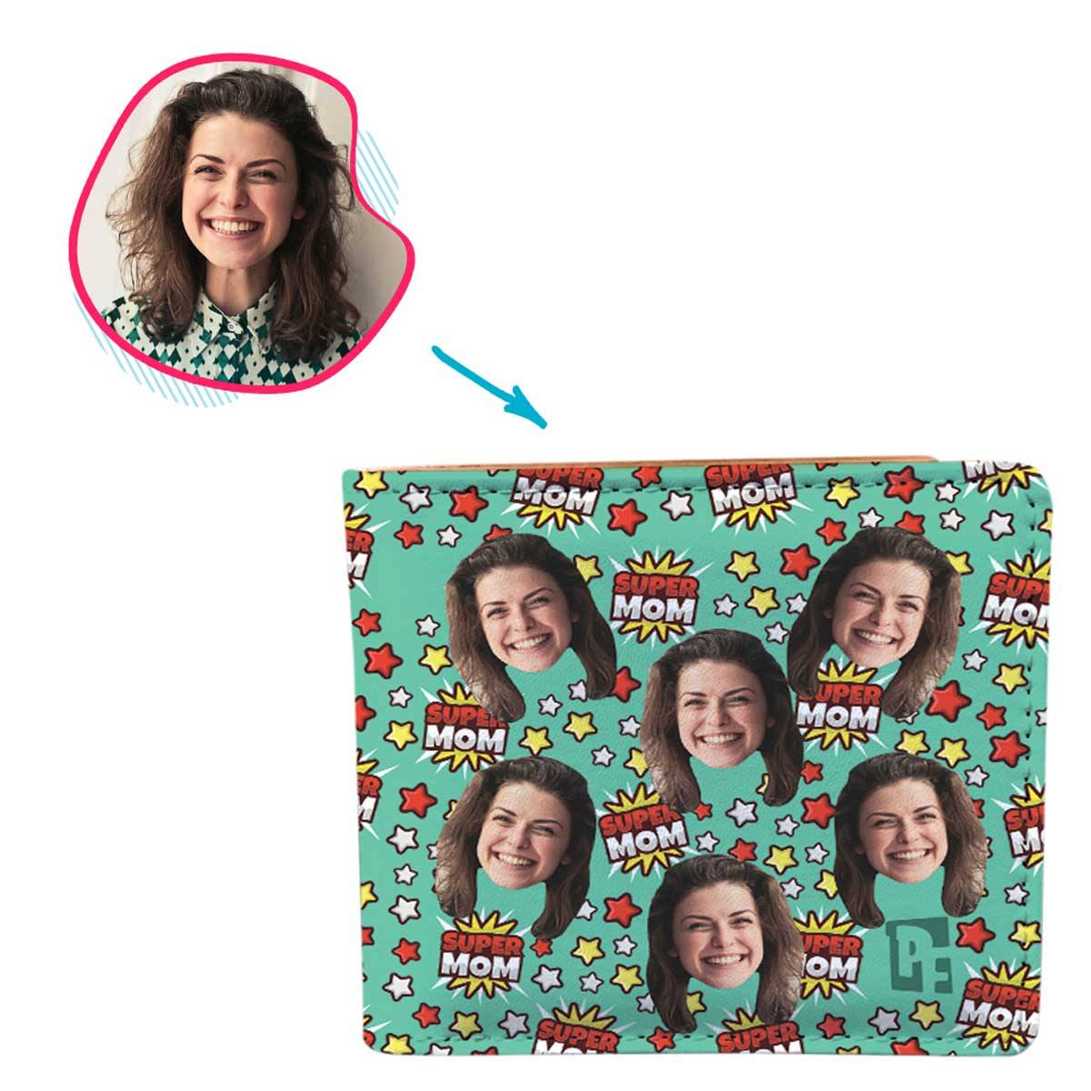 mint Super Mom wallet personalized with photo of face printed on it