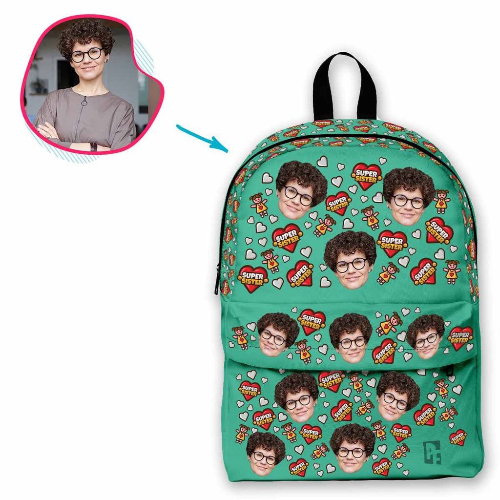 mint Super Sister classic backpack personalized with photo of face printed on it