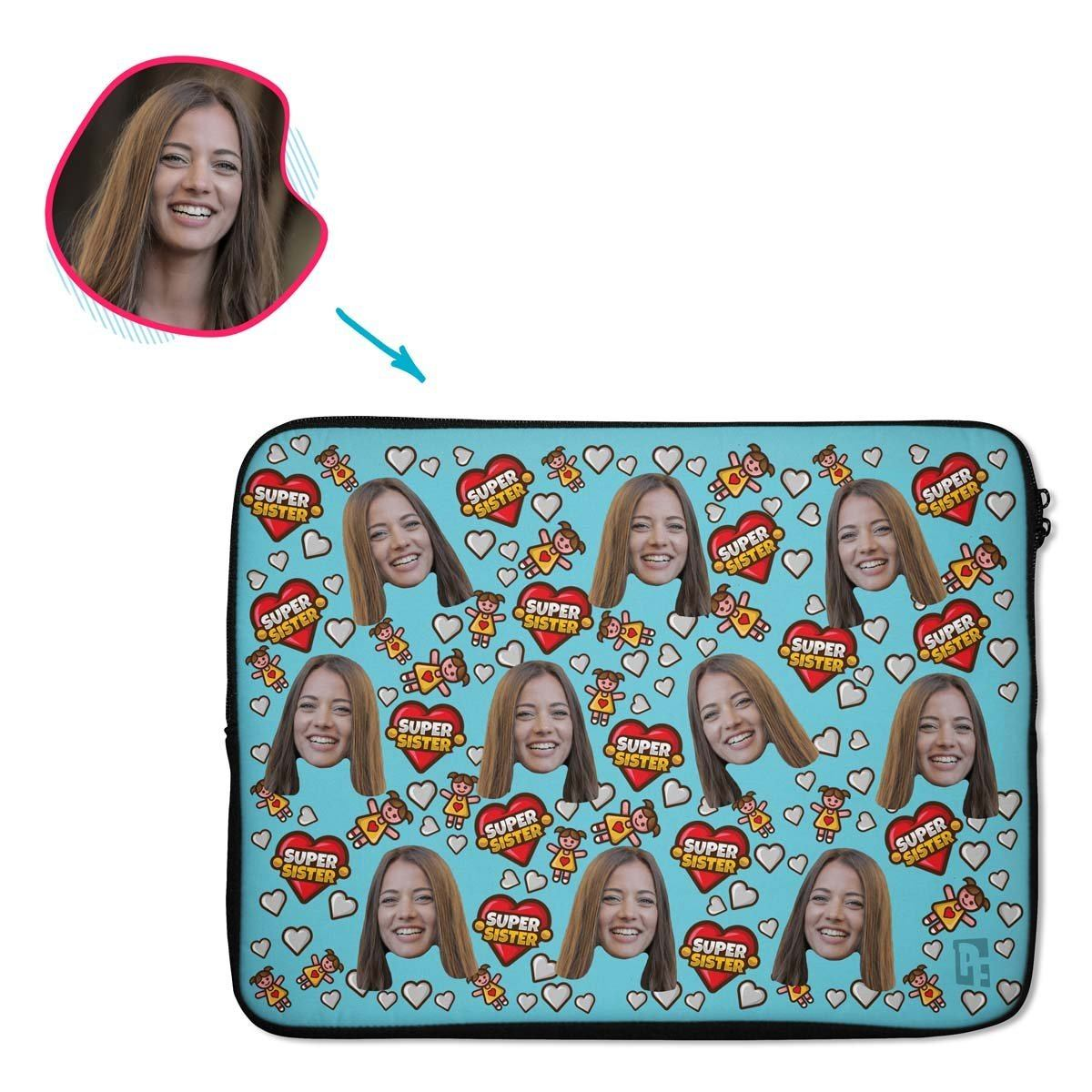 blue Super Sister laptop sleeve personalized with photo of face printed on them