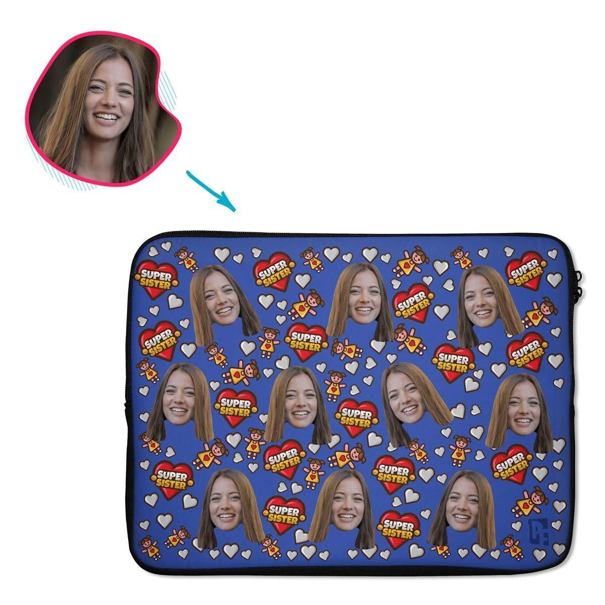 darkblue Super Sister laptop sleeve personalized with photo of face printed on them