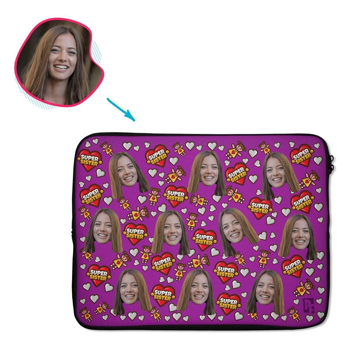 purple Super Sister laptop sleeve personalized with photo of face printed on them