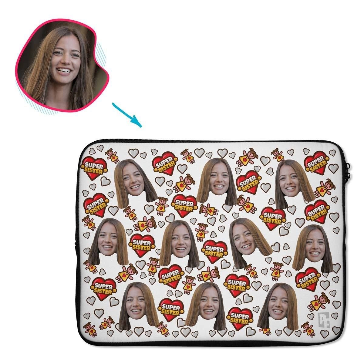 white Super Sister laptop sleeve personalized with photo of face printed on them