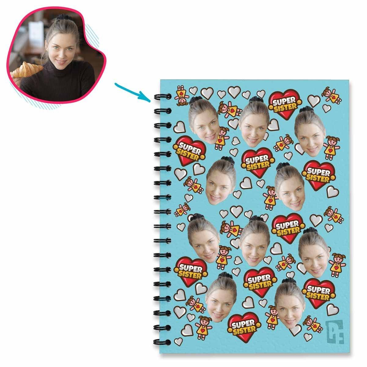 blue Super Sister Notebook personalized with photo of face printed on them