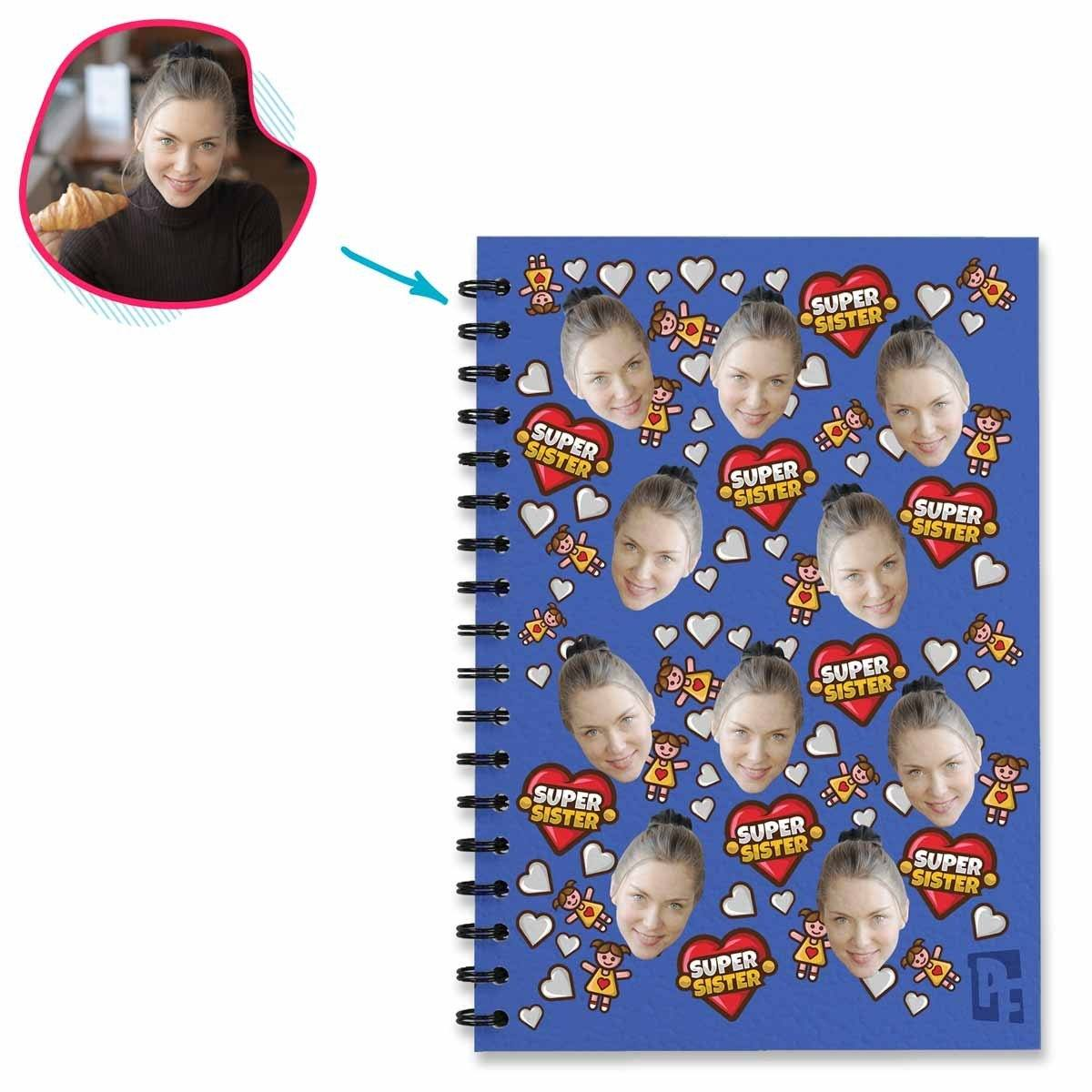 darkblue Super Sister Notebook personalized with photo of face printed on them