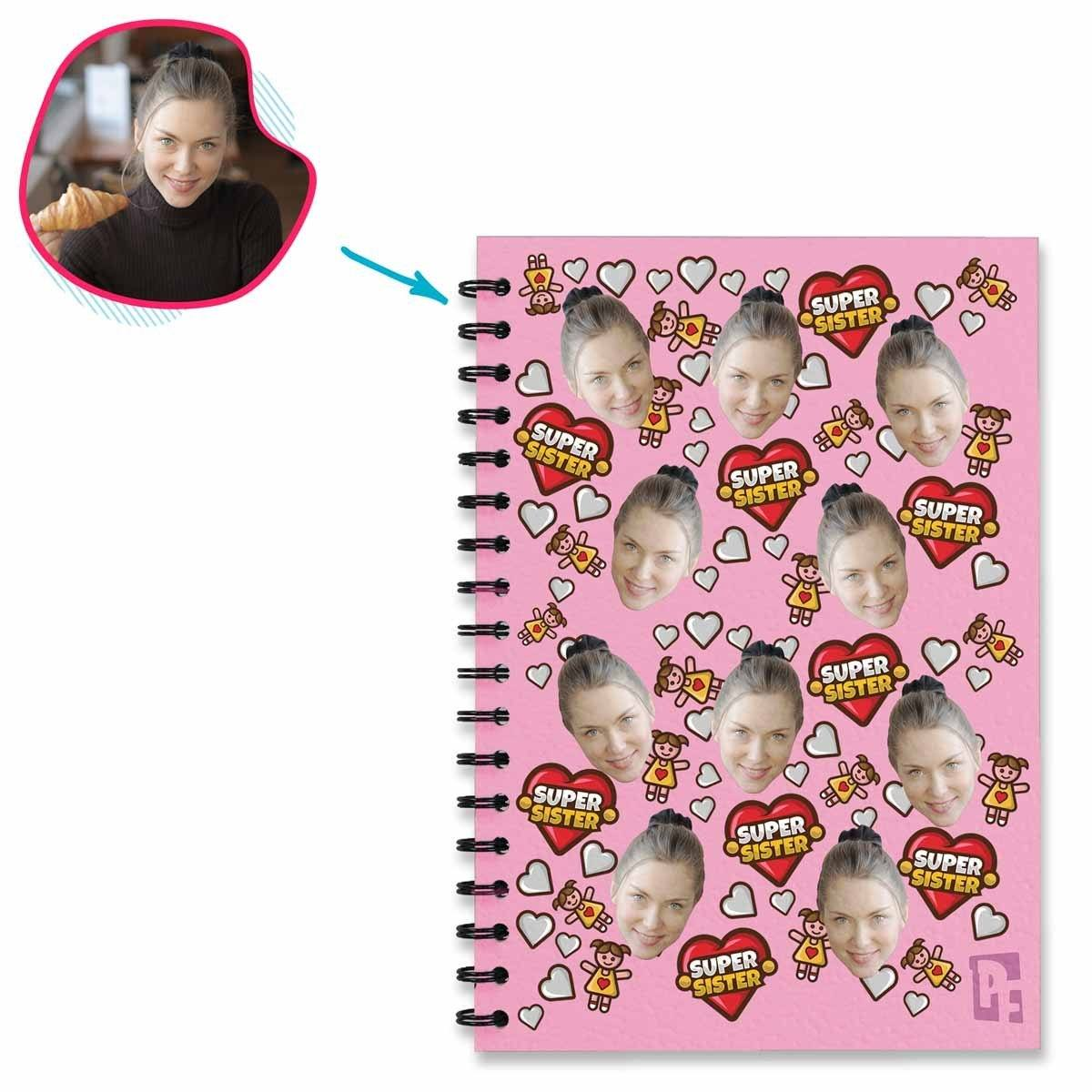pink Super Sister Notebook personalized with photo of face printed on them