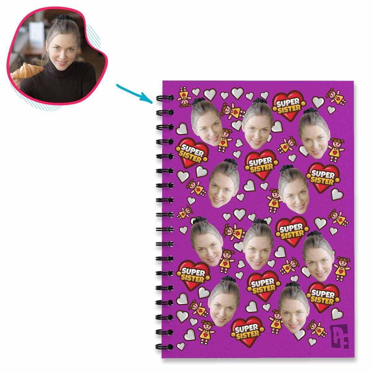 purple Super Sister Notebook personalized with photo of face printed on them