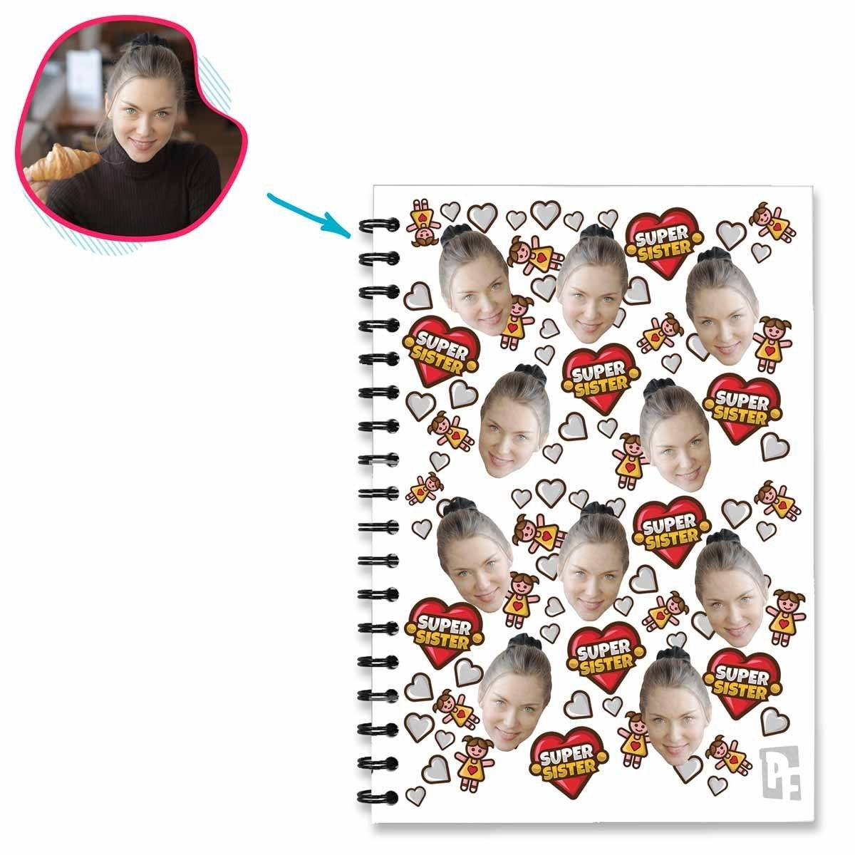 white Super Sister Notebook personalized with photo of face printed on them
