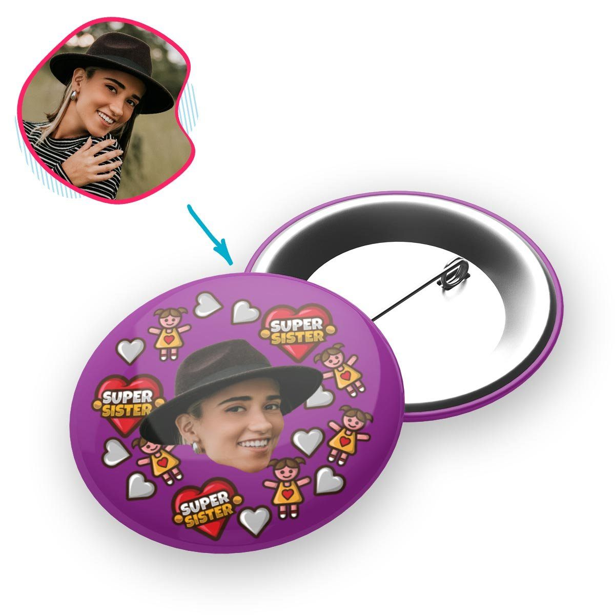 purple Super Sister pin personalized with photo of face printed on it