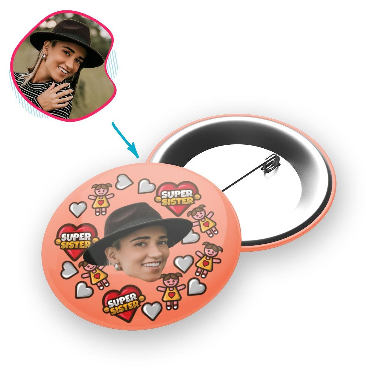 salmon Super Sister pin personalized with photo of face printed on it
