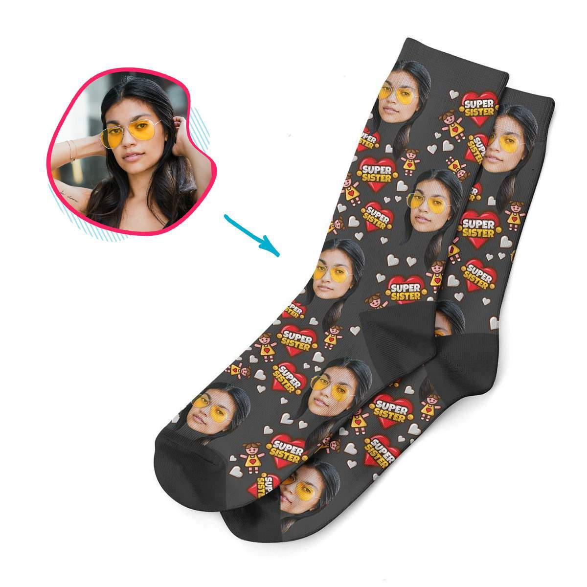 white Super Sister socks personalized with photo of face printed on them