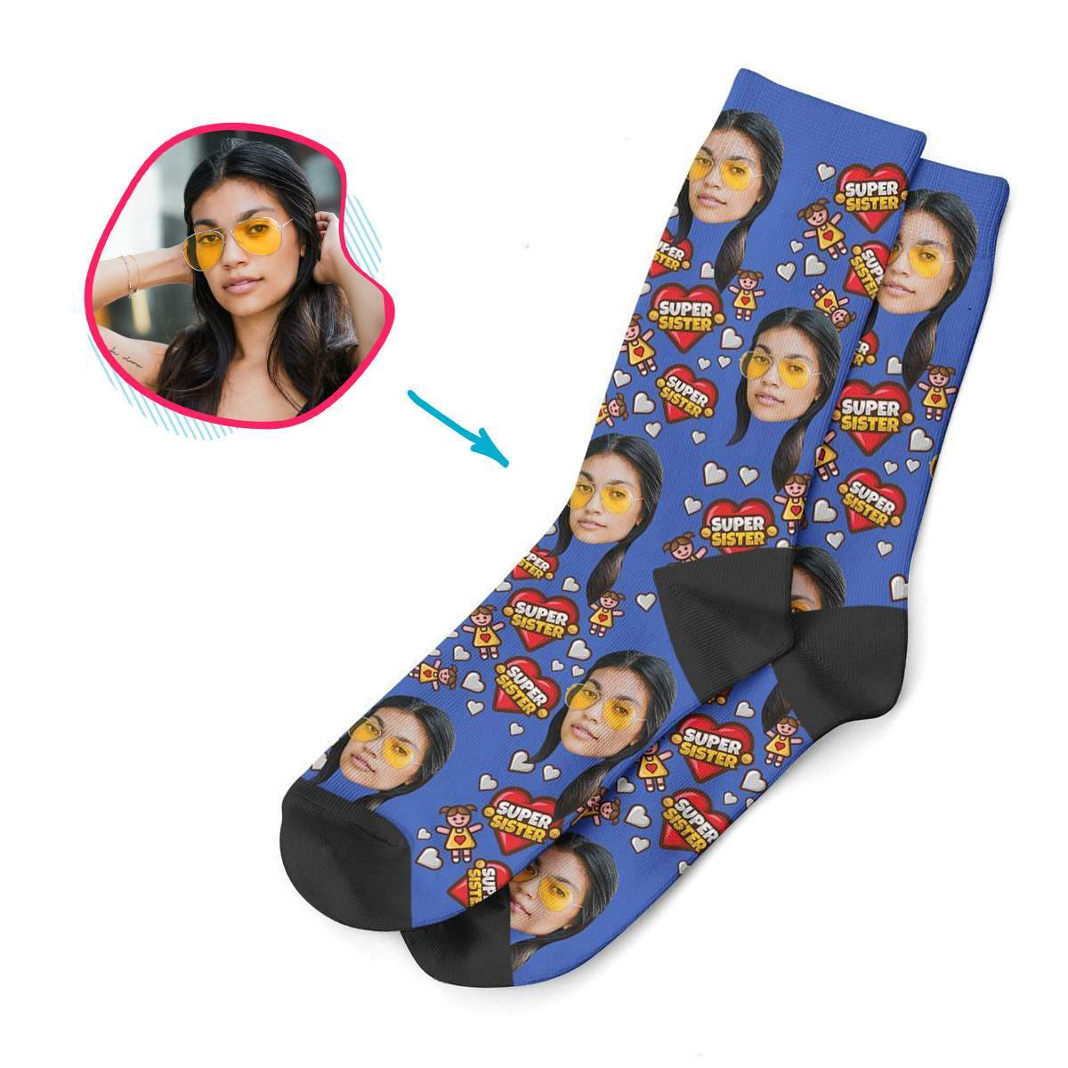 red Super Sister socks personalized with photo of face printed on them