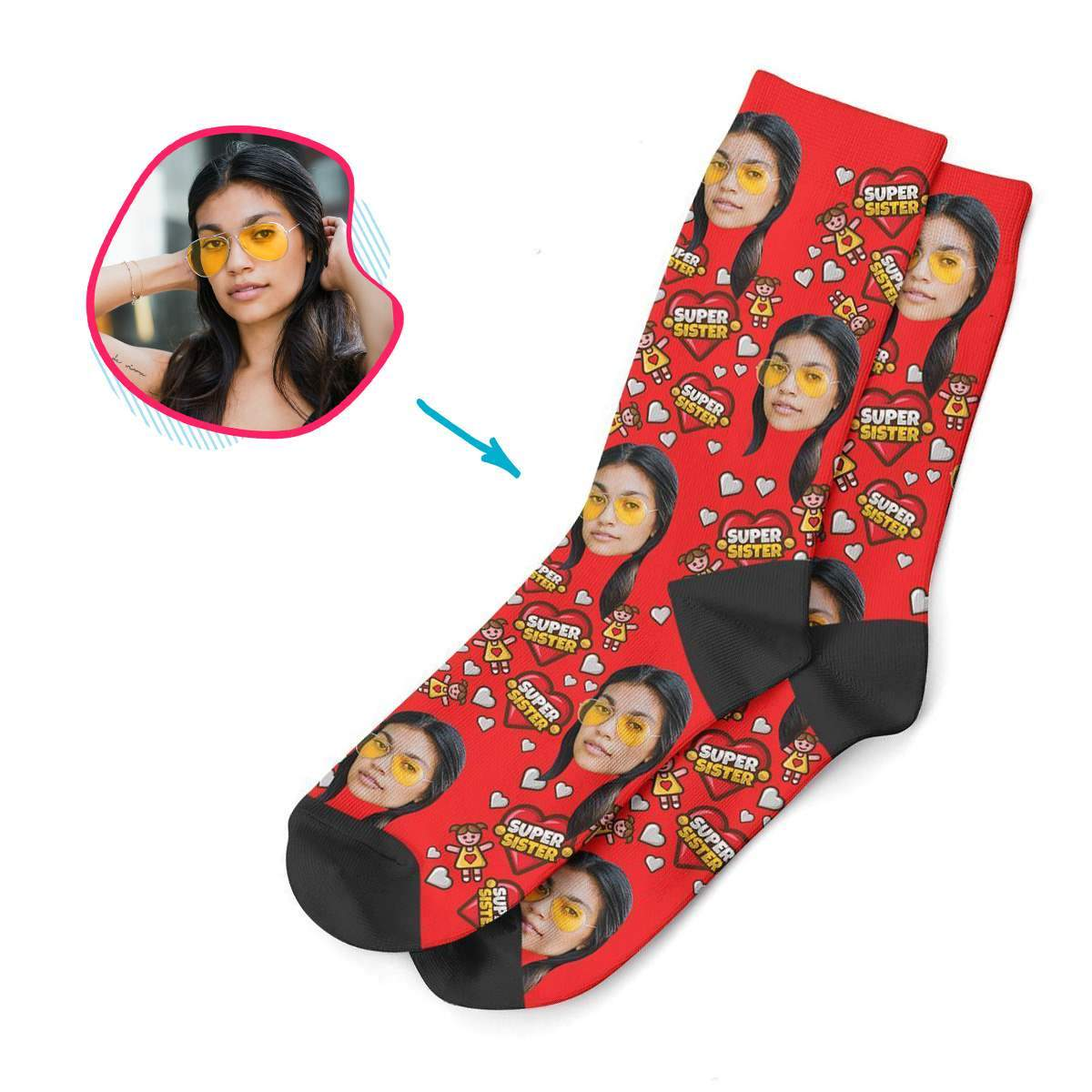 darkblue Super Sister socks personalized with photo of face printed on them