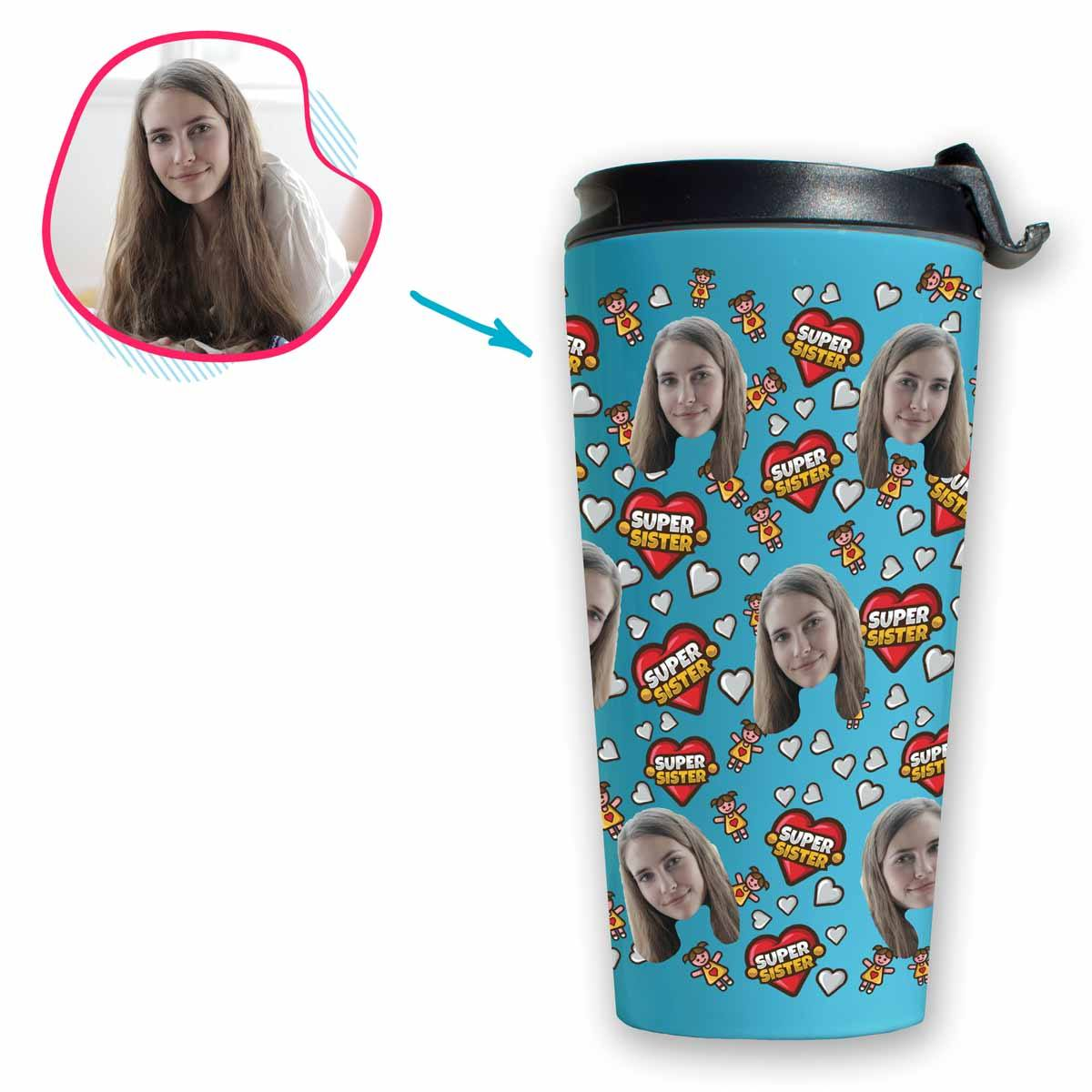 blue Super Sister travel mug personalized with photo of face printed on it