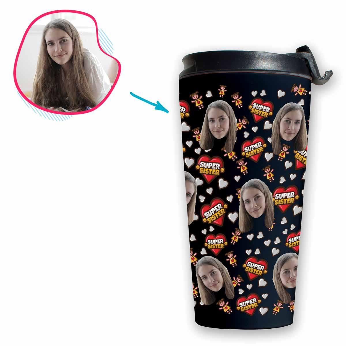 dark Super Sister travel mug personalized with photo of face printed on it