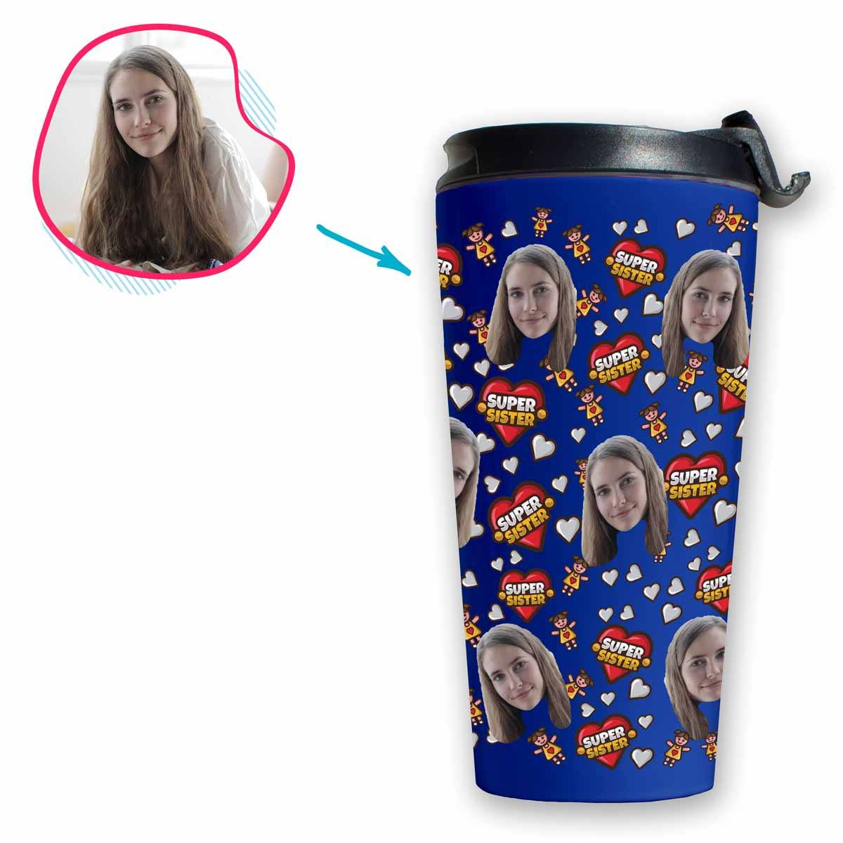darkblue Super Sister travel mug personalized with photo of face printed on it