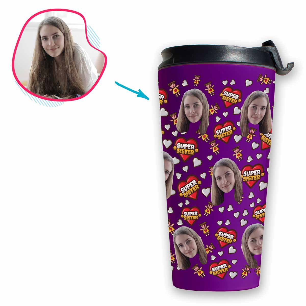 purple Super Sister travel mug personalized with photo of face printed on it