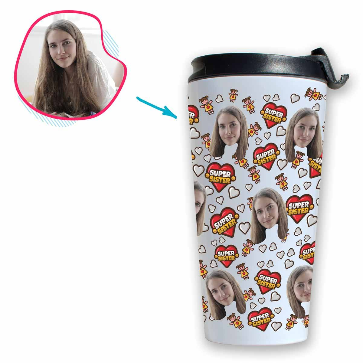 white Super Sister travel mug personalized with photo of face printed on it