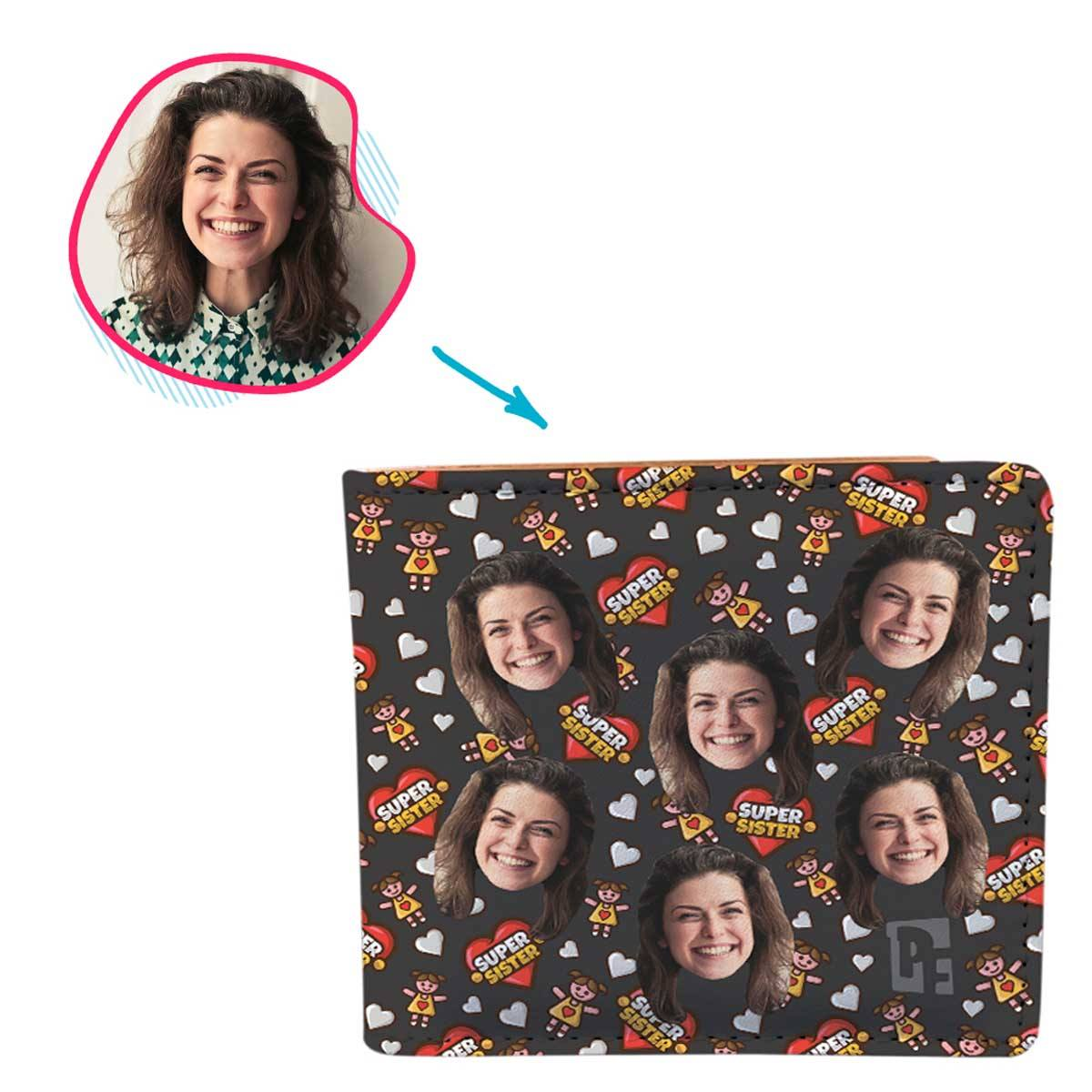 dark Super Sister wallet personalized with photo of face printed on it