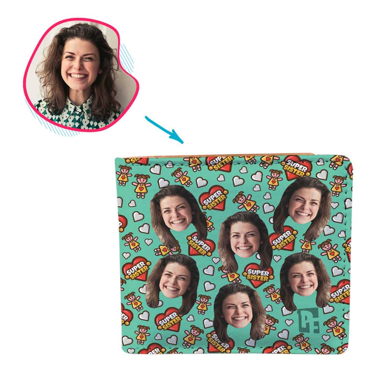 mint Super Sister wallet personalized with photo of face printed on it