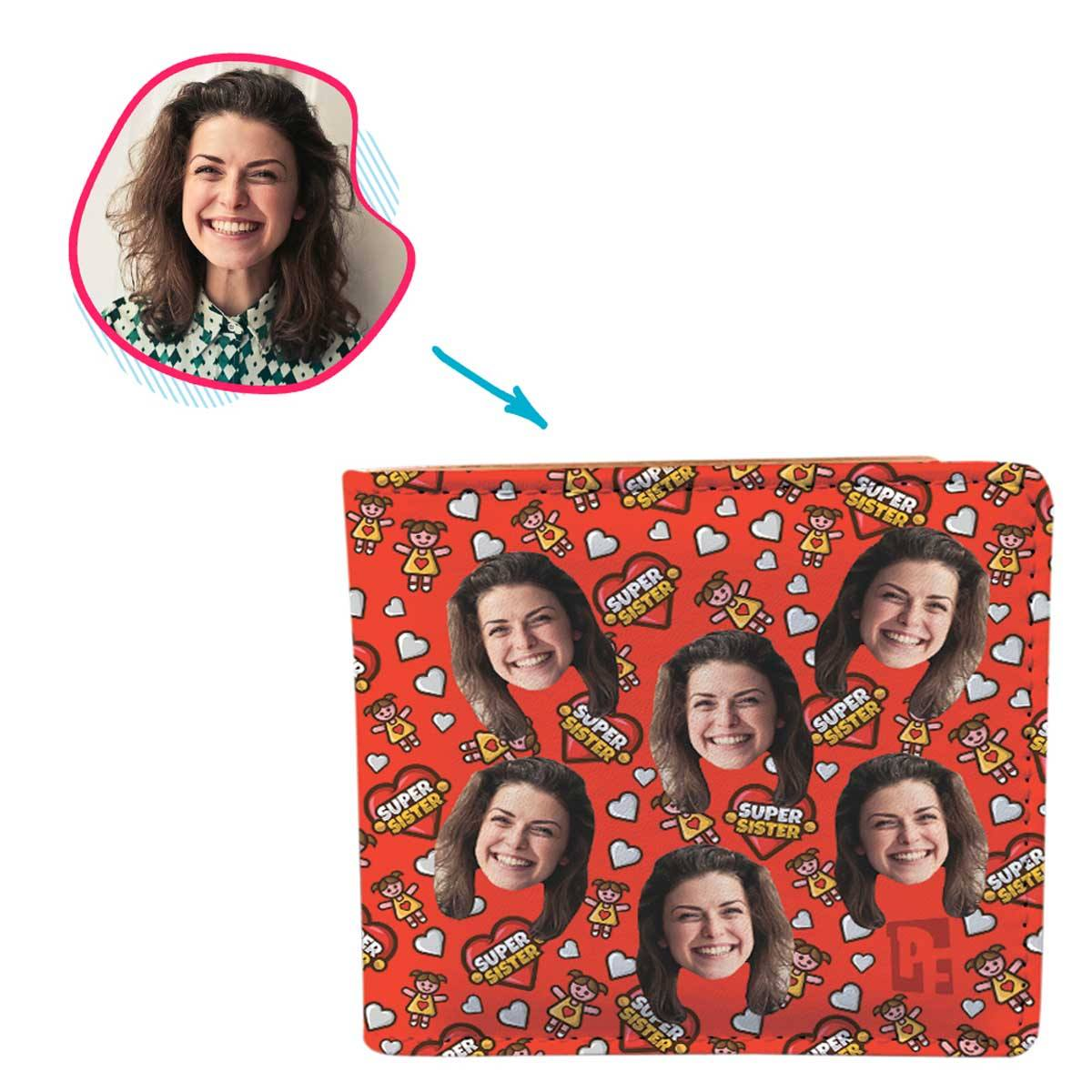 red Super Sister wallet personalized with photo of face printed on it