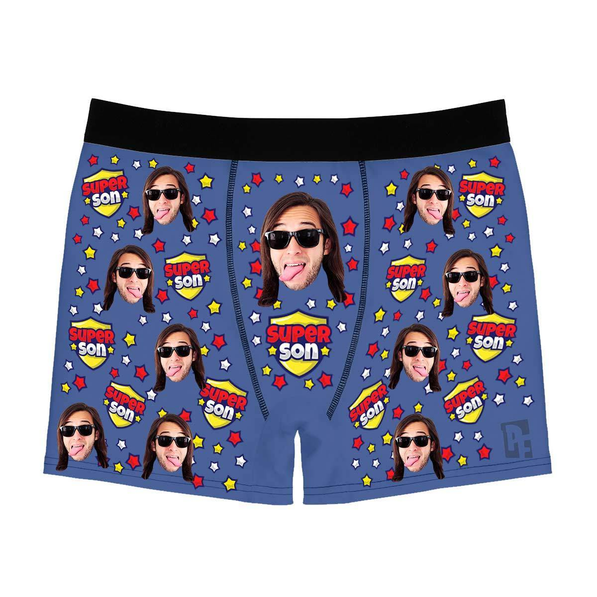 Darkblue Super son men's boxer briefs personalized with photo printed on them