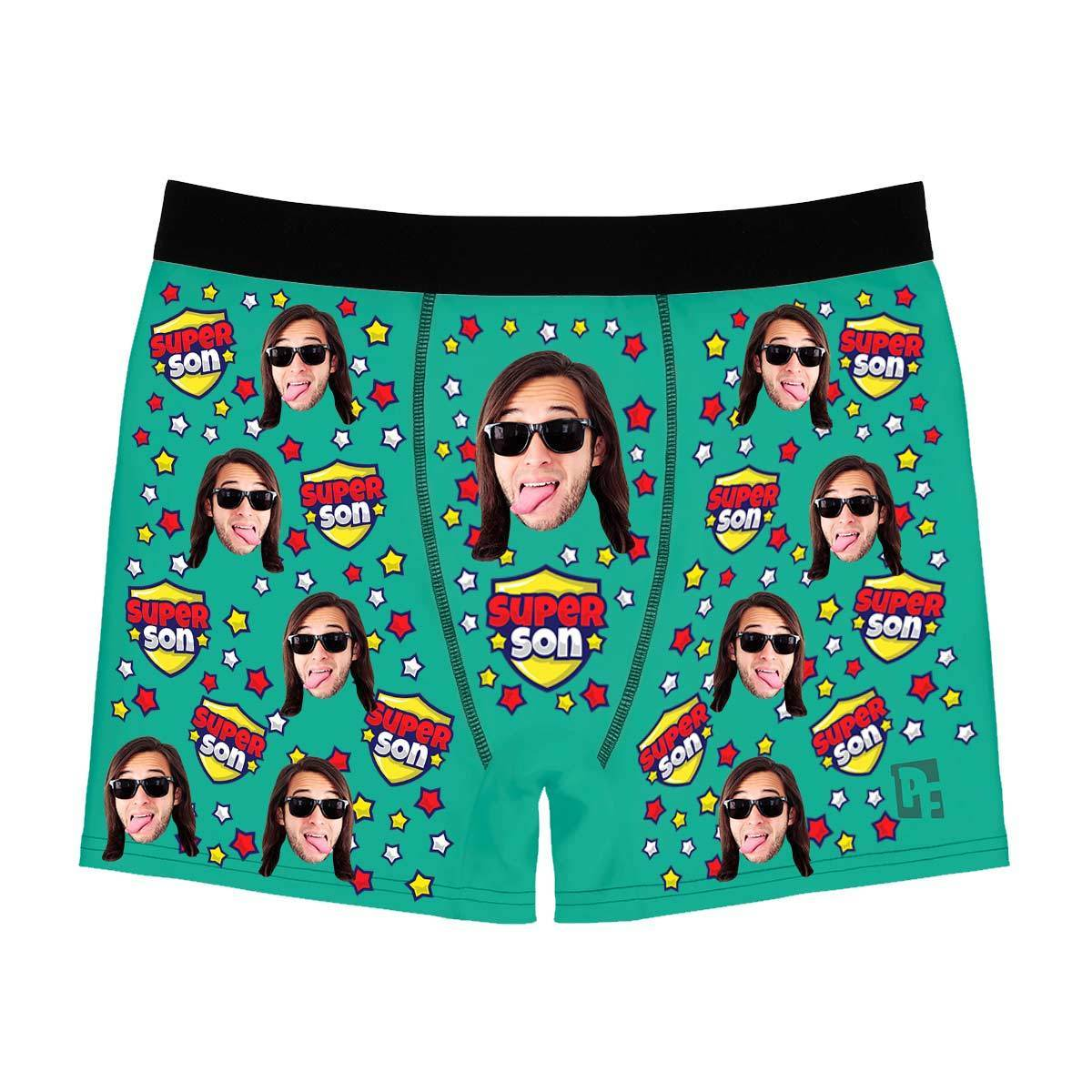 Mint Super son men's boxer briefs personalized with photo printed on them