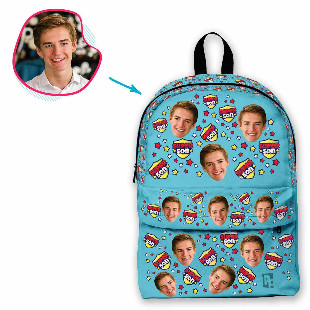blue Super Son classic backpack personalized with photo of face printed on it