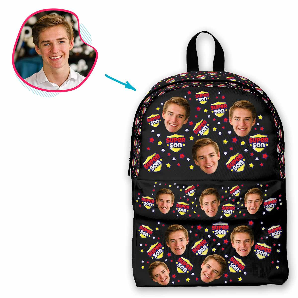 dark Super Son classic backpack personalized with photo of face printed on it