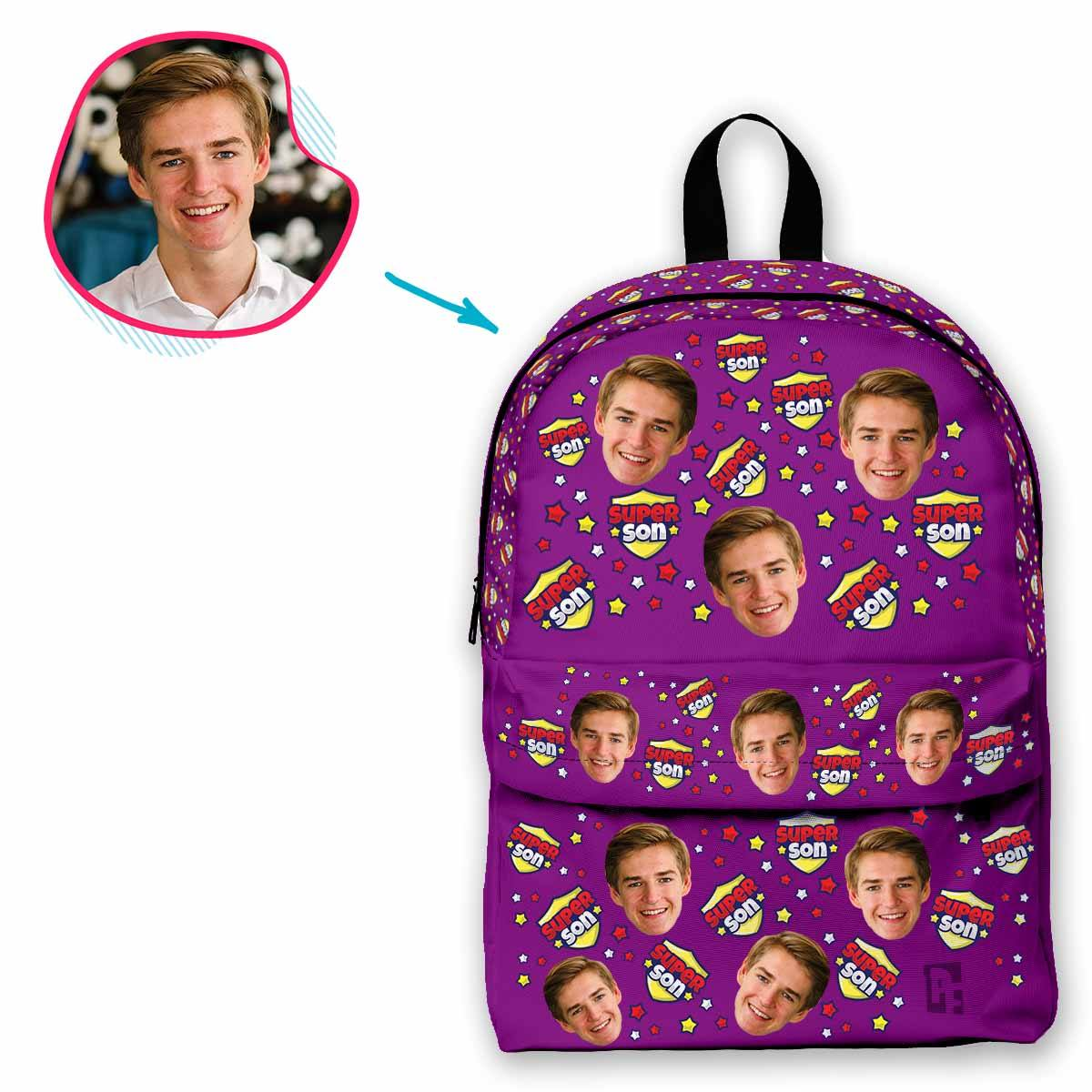 purple Super Son classic backpack personalized with photo of face printed on it