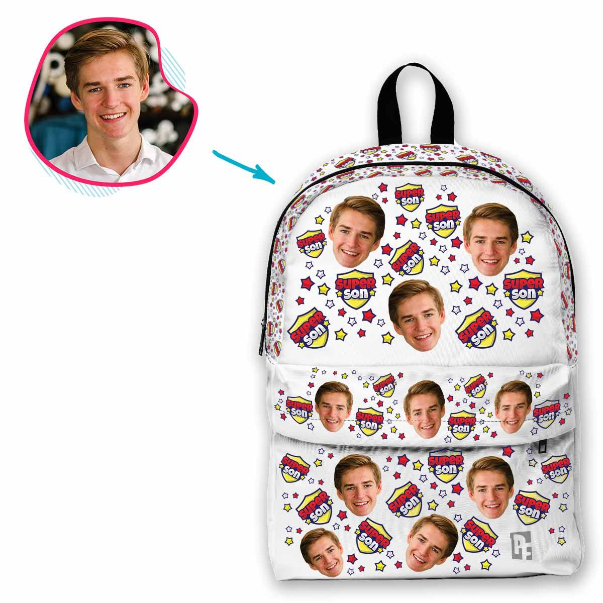 white Super Son classic backpack personalized with photo of face printed on it