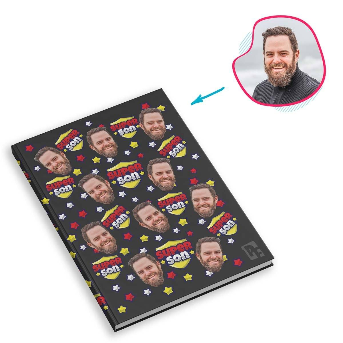 dark Super Son Notebook personalized with photo of face printed on them