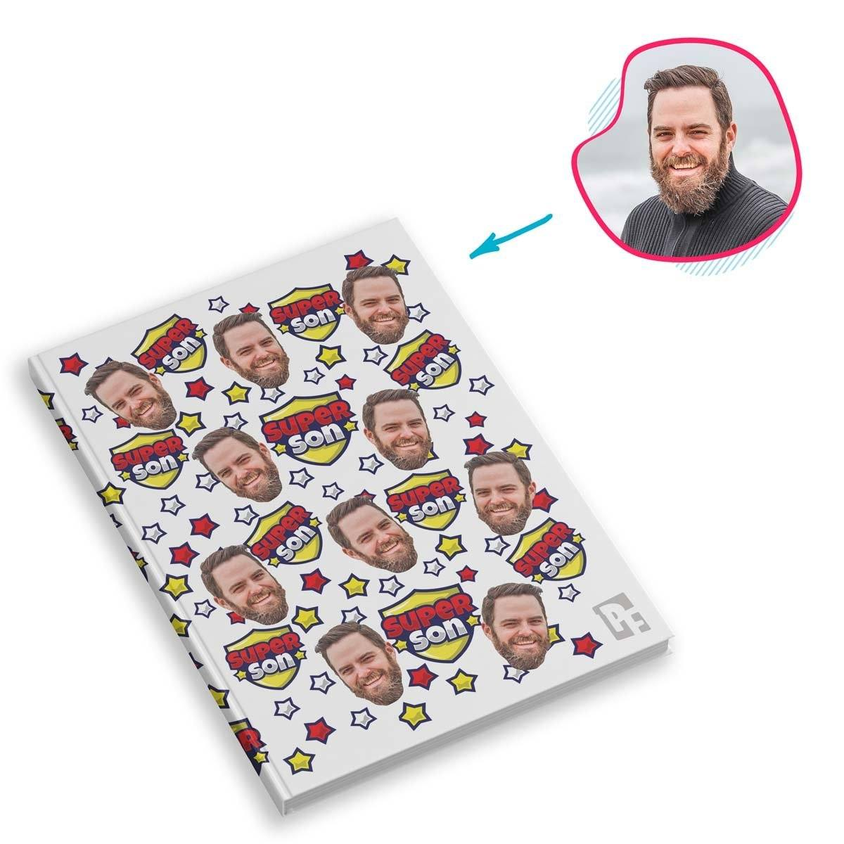 white Super Son Notebook personalized with photo of face printed on them