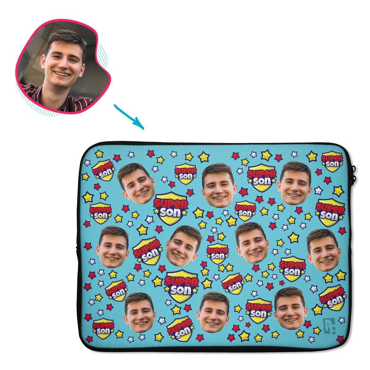 blue Super Son laptop sleeve personalized with photo of face printed on them