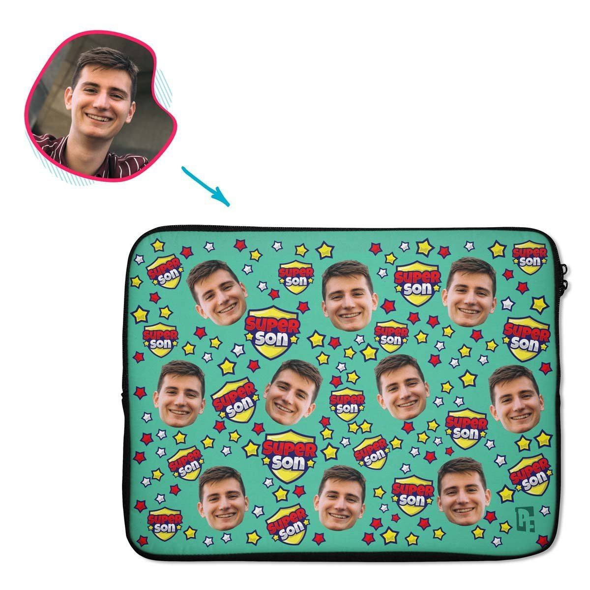 mint Super Son laptop sleeve personalized with photo of face printed on them