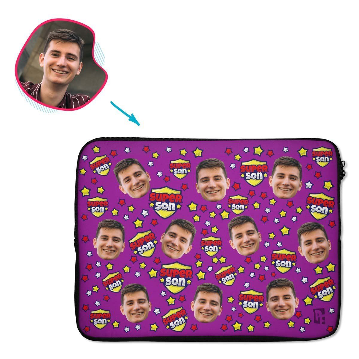 purple Super Son laptop sleeve personalized with photo of face printed on them