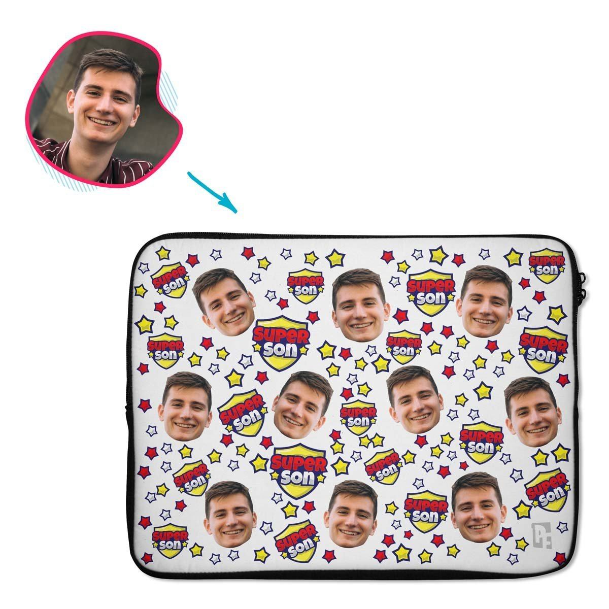 white Super Son laptop sleeve personalized with photo of face printed on them