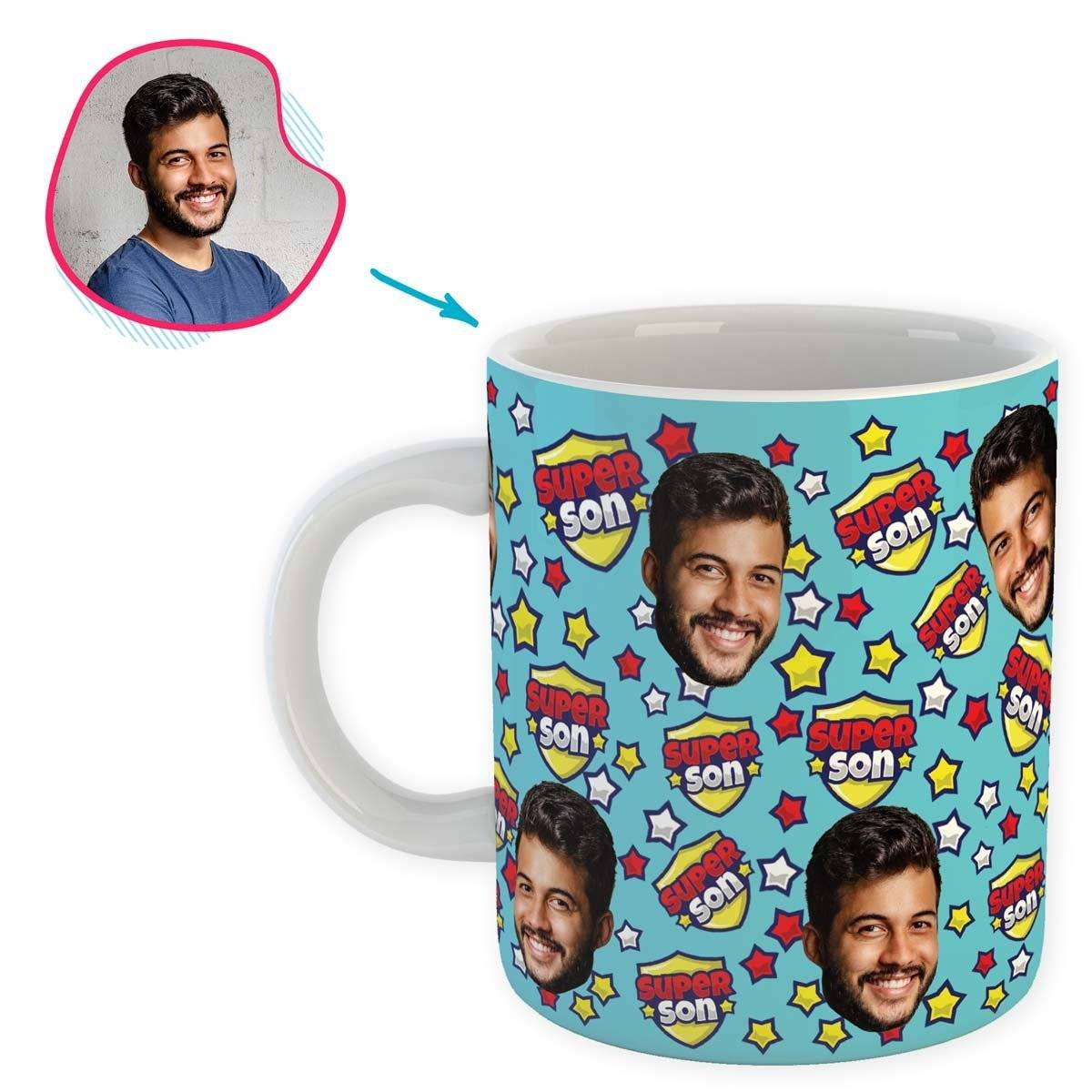 blue Super Son mug personalized with photo of face printed on it