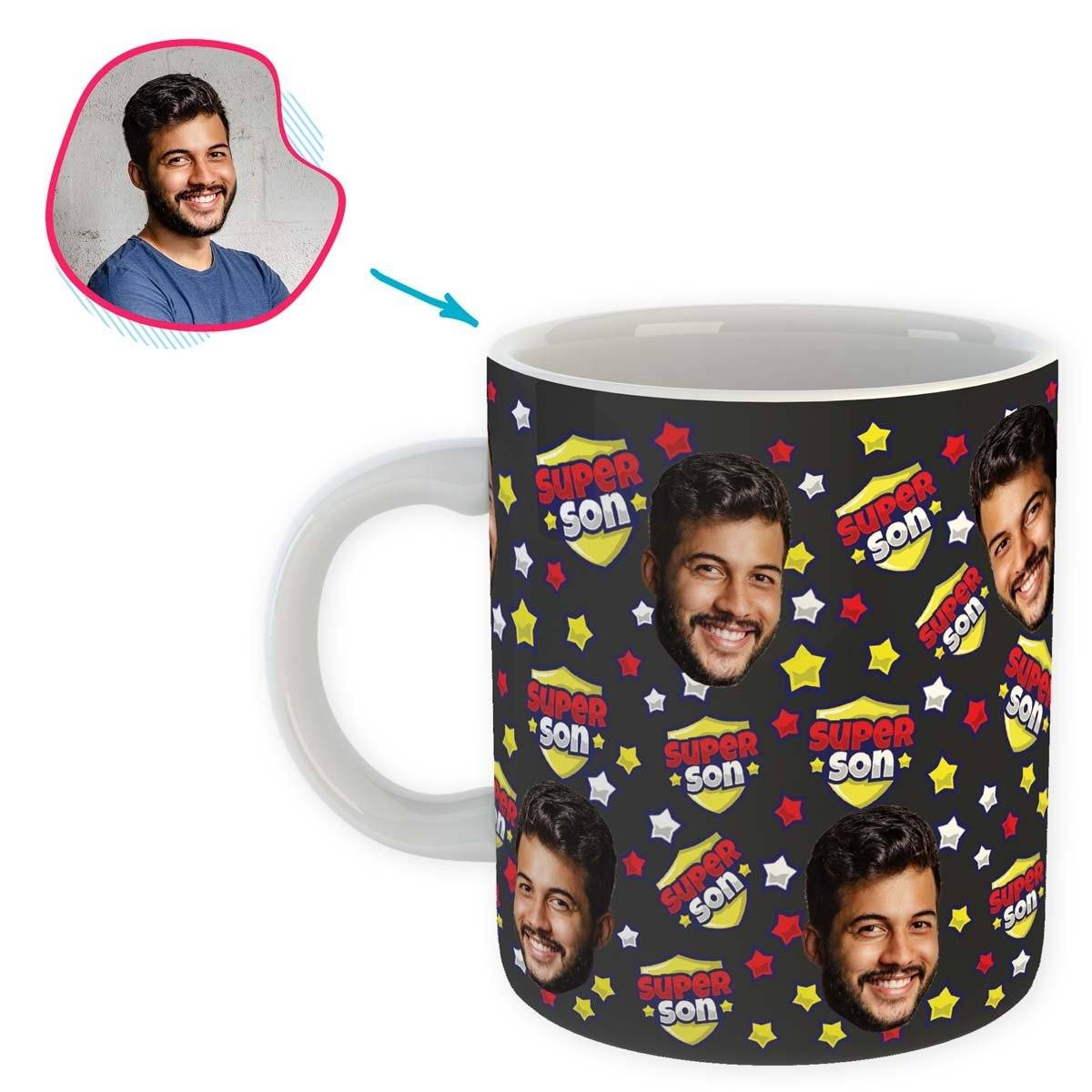 dark Super Son mug personalized with photo of face printed on it