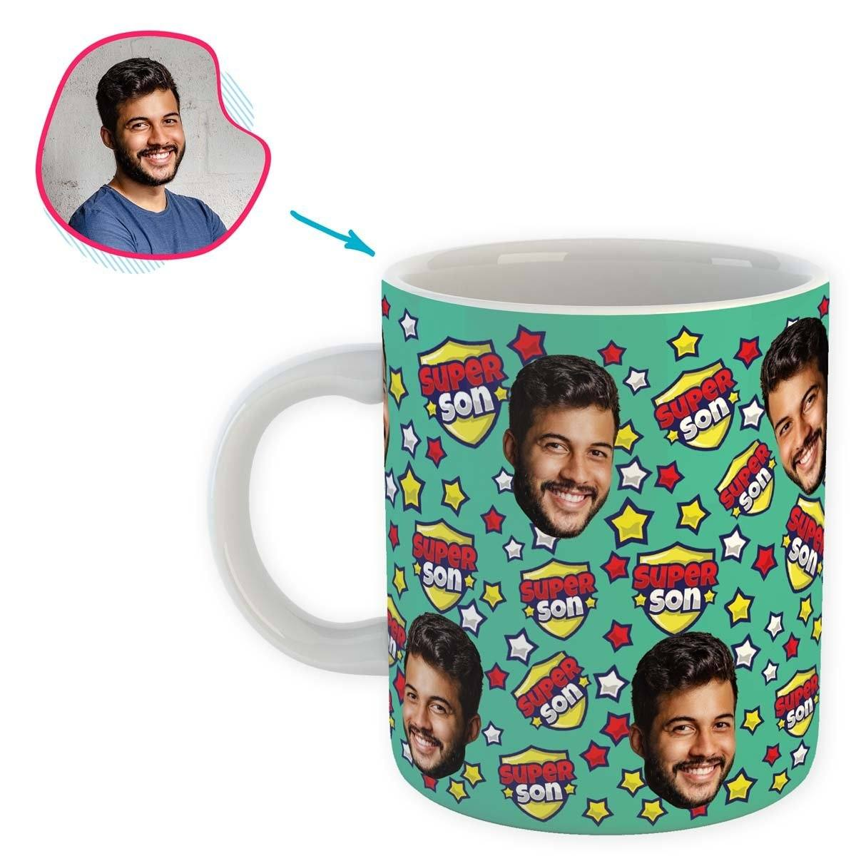 mint Super Son mug personalized with photo of face printed on it