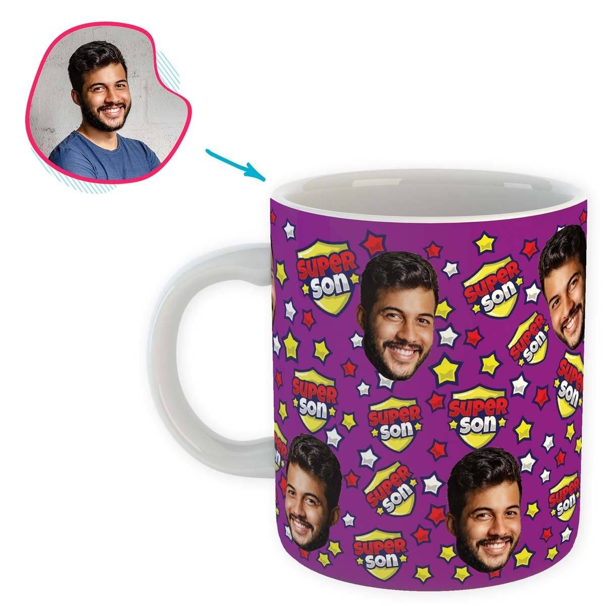 purple Super Son mug personalized with photo of face printed on it